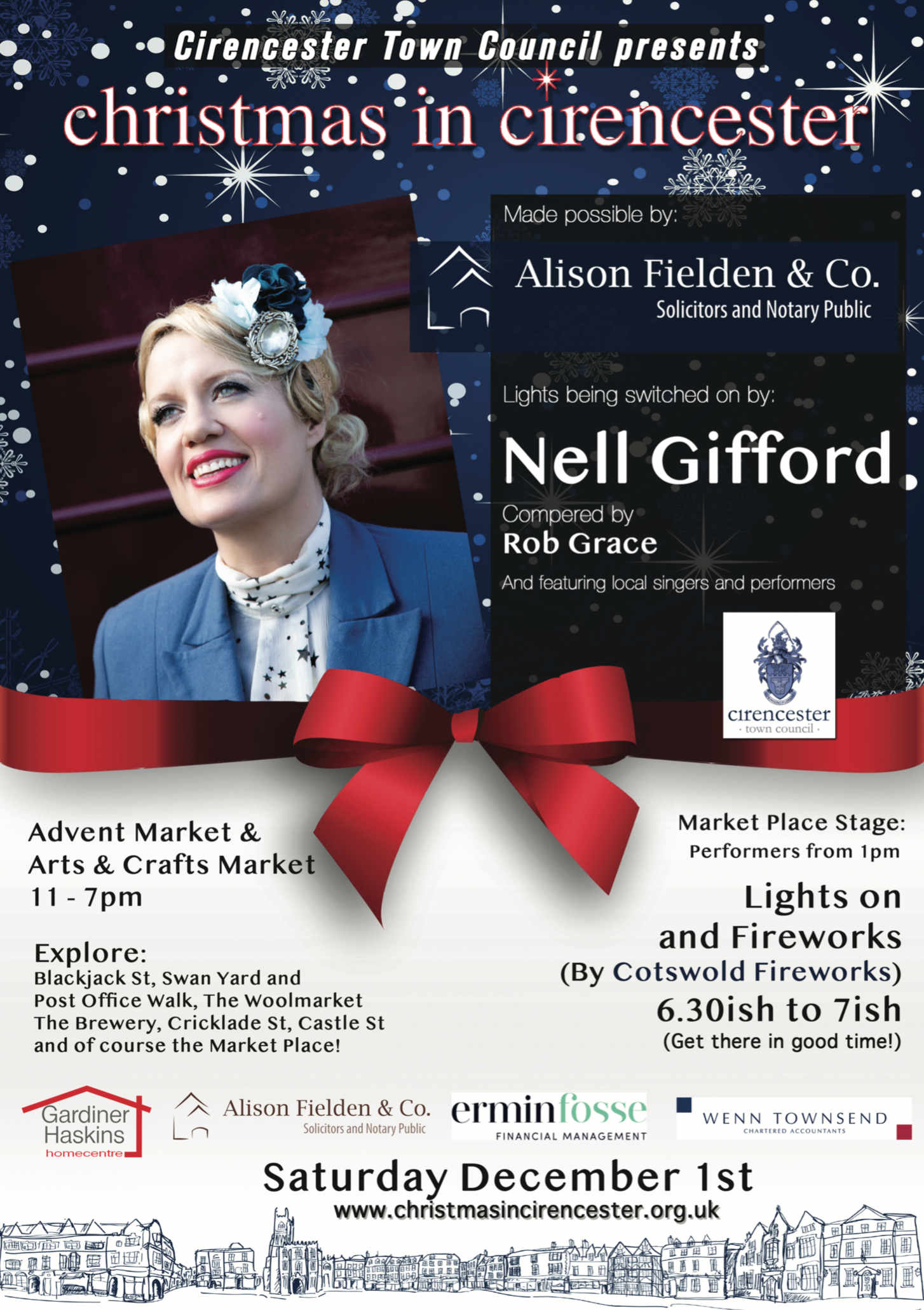Nell Gifford, founder of Gifford's Circus, to turn on Cirencester's Christmas Lights
