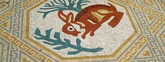 Replica mosaic representing the design of a hare on the 4th Century A.D. Mosaic from Corinium, Roman Cirencester